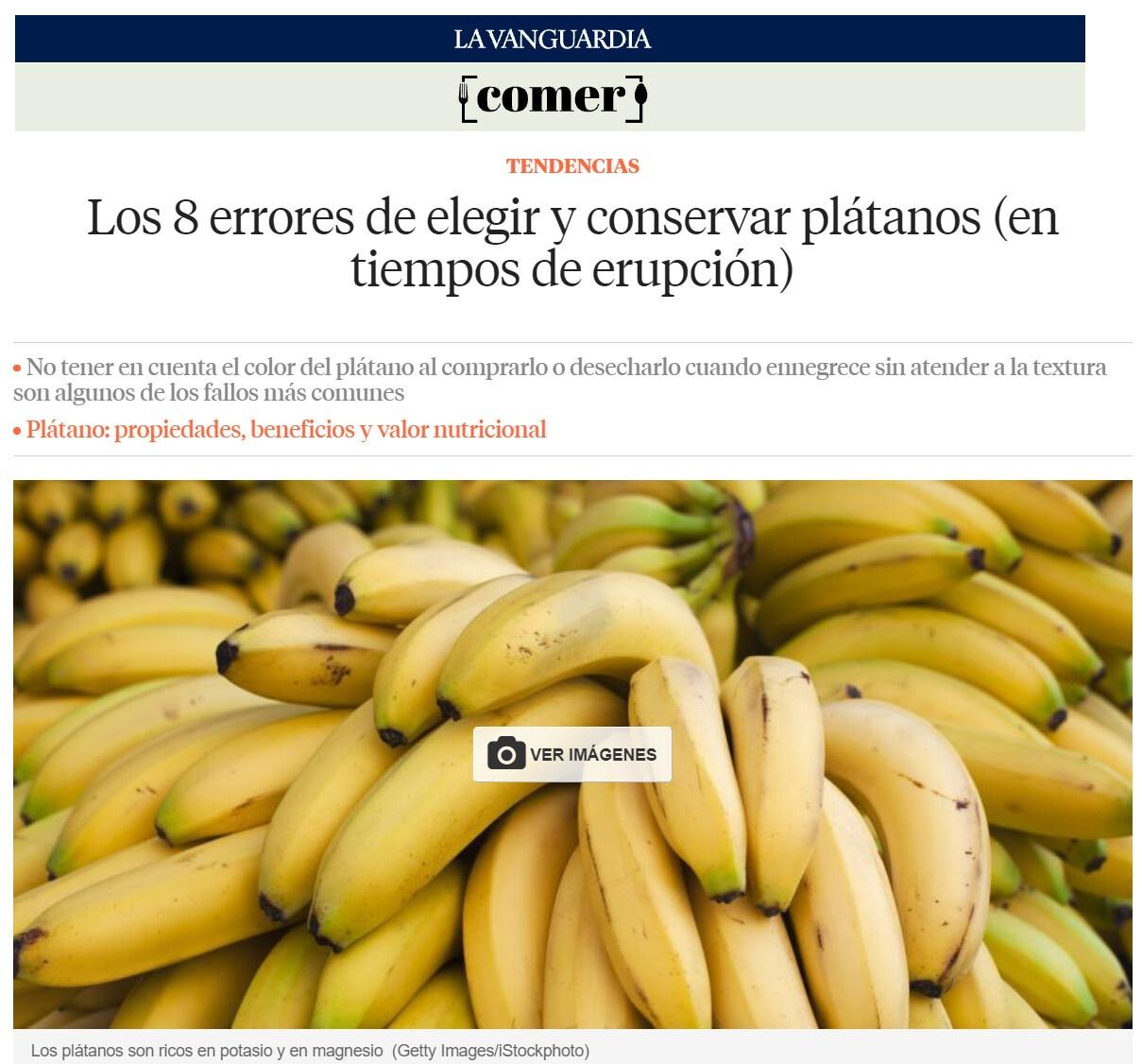8 errores elegir plátanos - Artículo La Vanguardia